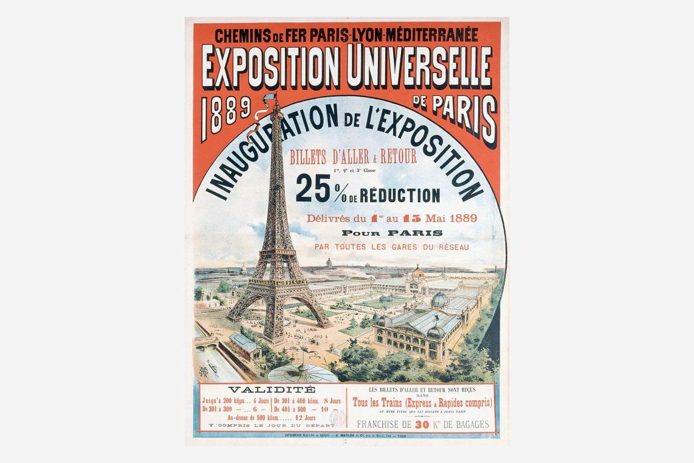 Az 1889-es párizsi világkiállítás plakátja az Eiffel-tornyot ábrázoló rajzzal.