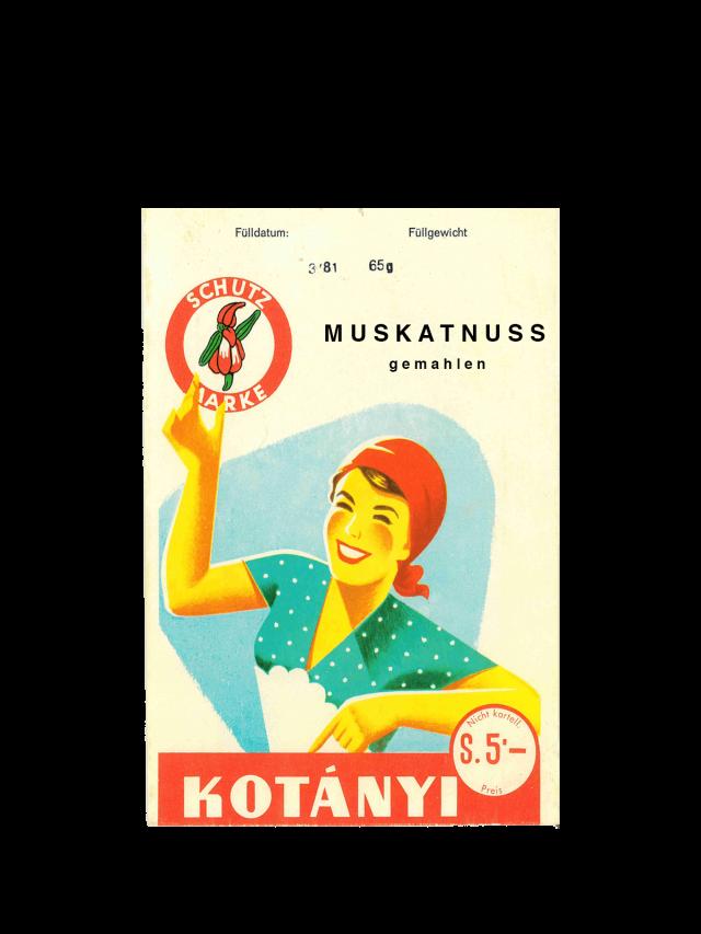 Kotányi szerecsendiós tasak az 1950-es évekből.